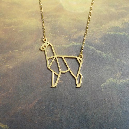 Alpaca, Origami Necklace, Animal Necklace, Alpaca Gifts, Gift for her
