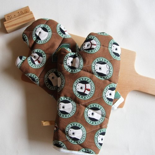 Cotton Fabric: Hanging Insulation gloves, Kitchen supplies, brown, Polar bear