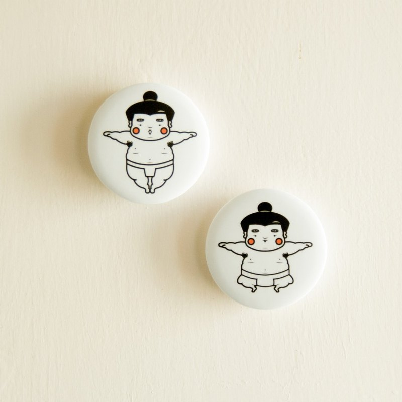 Sumo Ah Fat Button Pin Badge, middle size badge 44mm,2 badges in each set