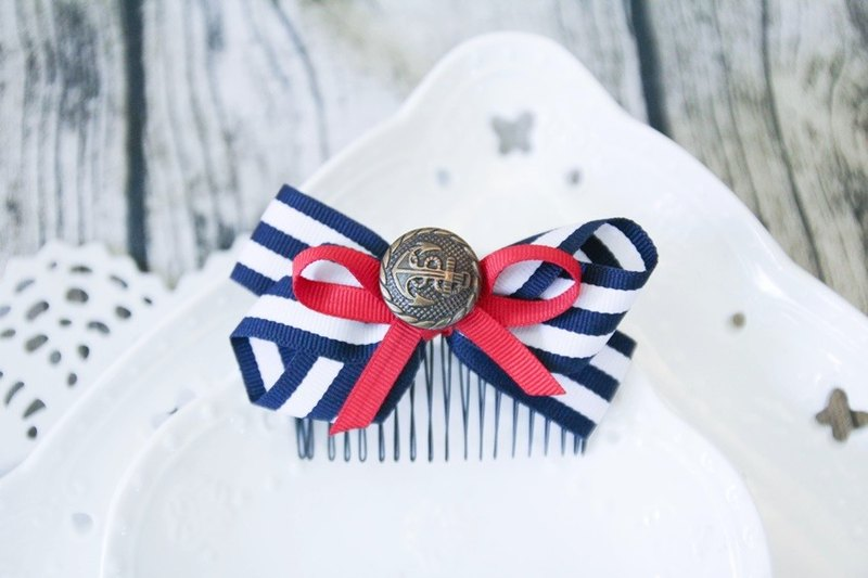 Blue and white red bow hair fork