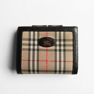 A ROOM MODEL - VINTAGE BD-0522 Burberry plaid gold short clip