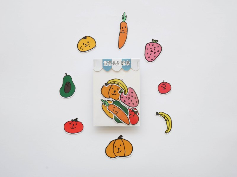 Fruit and vegetable health stickers / big hair billowing
