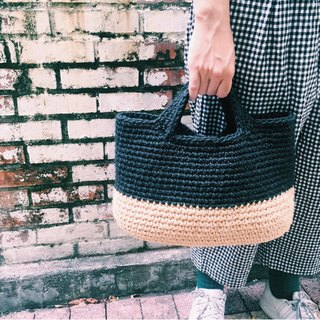 Hand-woven material bag - Udon noodles hemp handbag - elliptical bottom