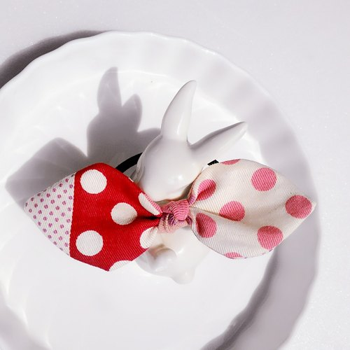 Red and white at the end of the rabbit ear bow hair bundle hair accessories