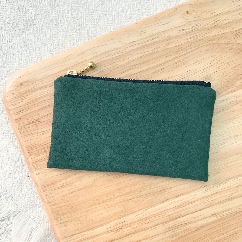 Plain Suede Pocket Coin Purse - Dark Green
