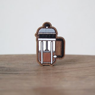 Wooden Brooch Coffee ~ French Press