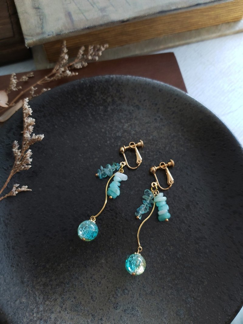 Aiyana Forest Series Tianhe Stone Apatite Earrings - Ear Needle / Ear Clip Christmas Gift