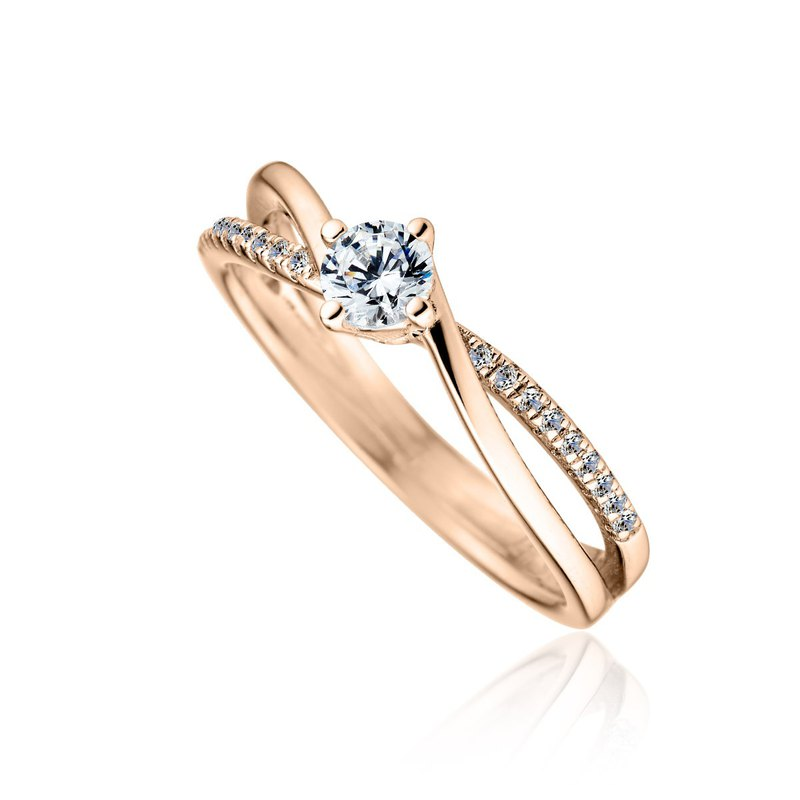 :: Free Lettering :: Shining Meteor Proposal Diamond Ring-18K Gold / 30 Points