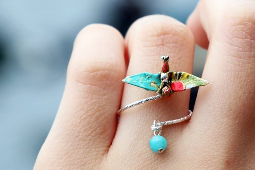 Mini cranes Crystal Ring (Milky Way) - Valentine's Day gift