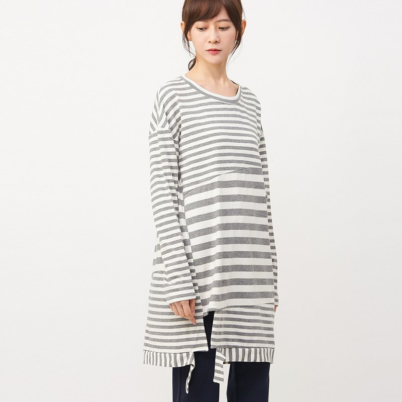 a la sha+a striped diagonal shear interface bag long top