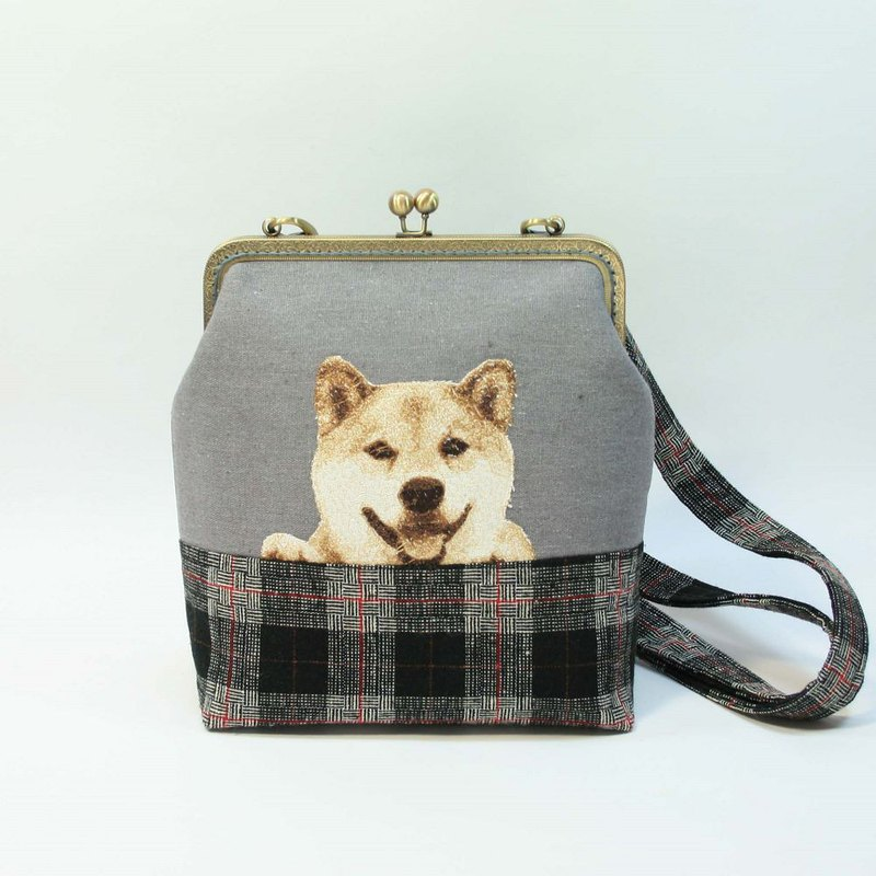 Embroidered 20cm 口 type gold cross-body bag 09-Shiba Inu