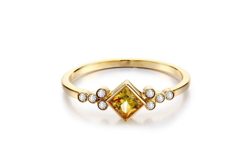 9K gold natural steel jade diamond ring