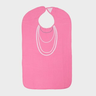 American Frenchie MC Pink Pearl Necklace Adult Waterproof Bib Gift Box