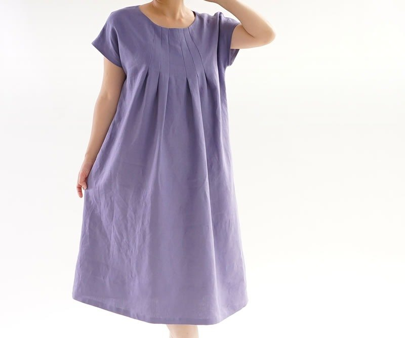 Linen front tuck dress / Violace Grize / a002a-vsg2