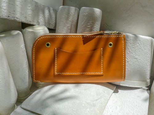 Do not hit the package bright orange vegetable tanned leather full leather universal wallet