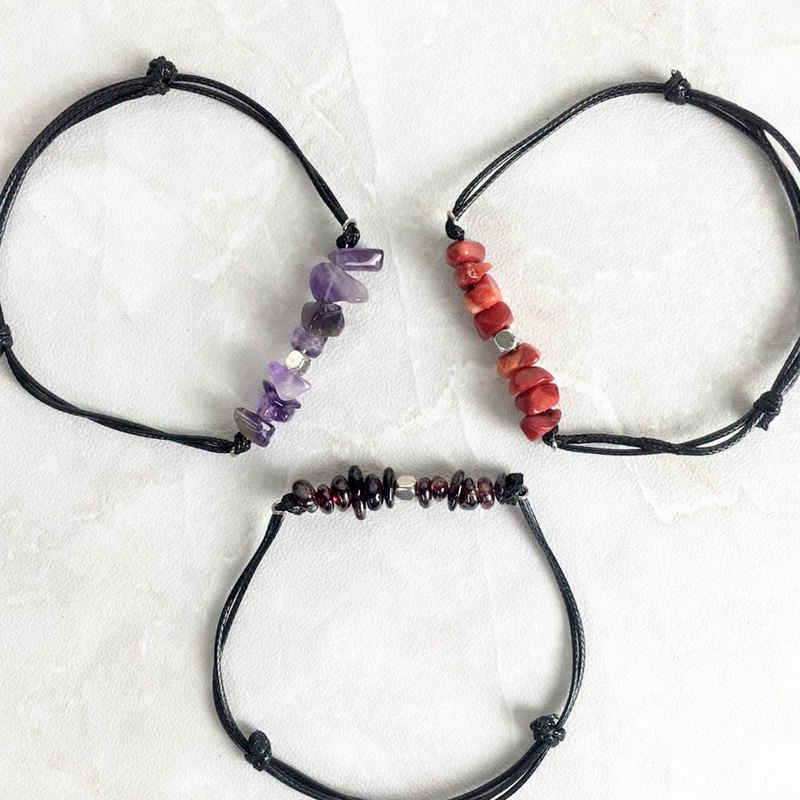 | Birthstone Gravel Series | 1~3 Month Garnet Amethyst Red Coral (Leather Bracelet x Handmade)