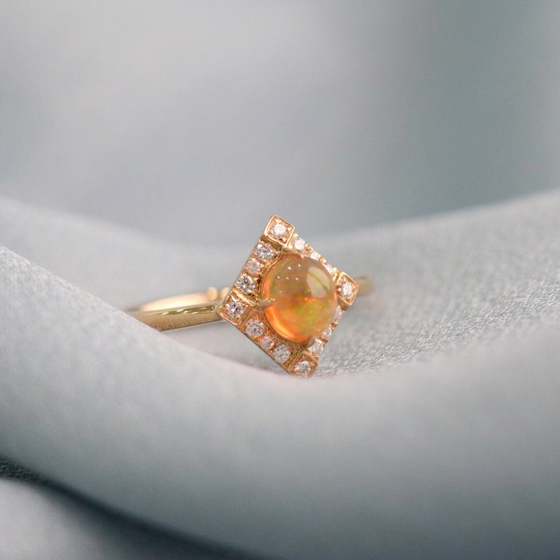 Vintage Magical Fire Opal Diamond Ring