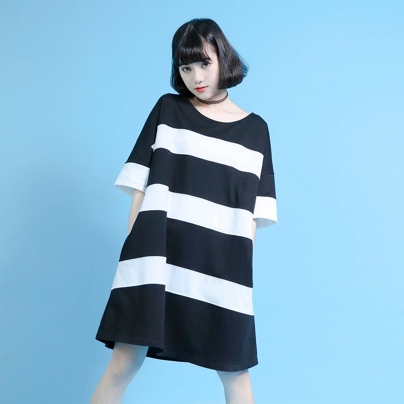 SU: MI said Element elements of black and white striped blouse dress _6SF046_