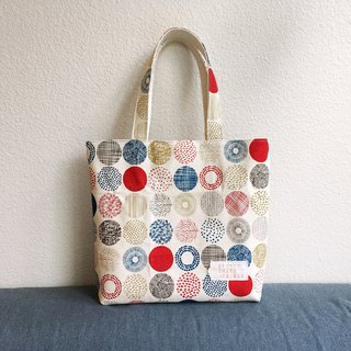 Circles of Joy (Red)- canvas, hand bag, tote bag, walking bag, daily bag