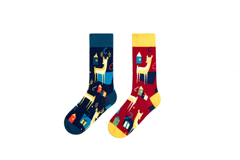 Christmas Gifts-DashinSocks Reindeer Series Couples Tide Socks Gift Box 2 Pairs Winter Wear