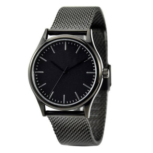 Minimalist Watch with thin stripes Black in Mesh Band - Free shipping worldwide