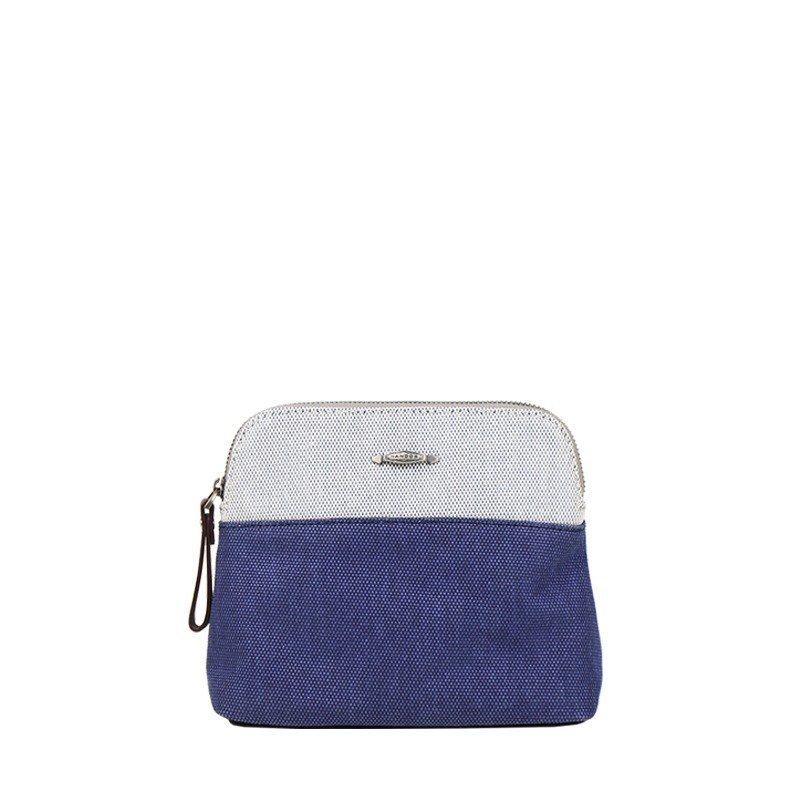 【Amy March 】Two-color woven canvas cosmetic bag-Ocean Blue