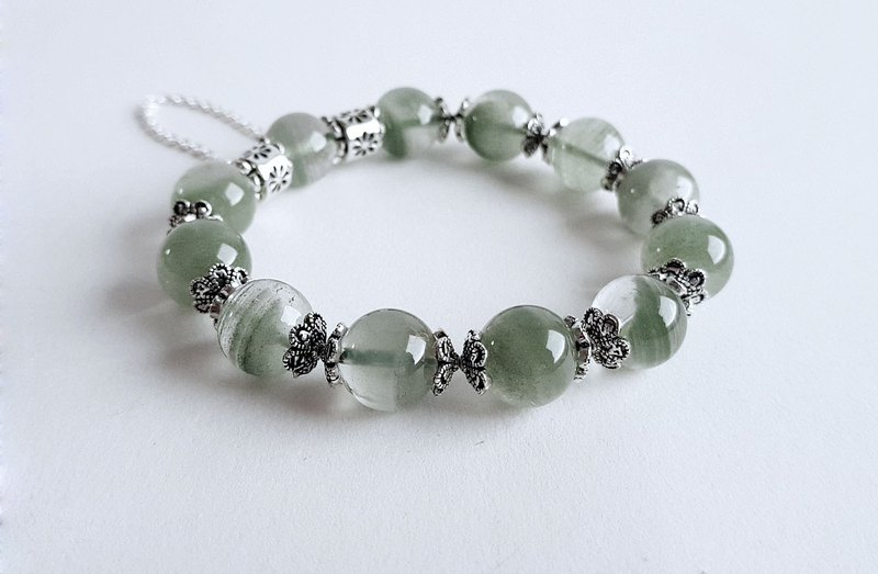 Gemstone Aqua Green Natural Ore Green Ghost 925 Sterling Silver Bracelet