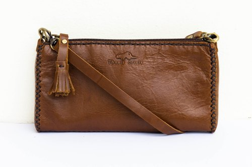 'MOBILE MAG' SMALL LEATHER BAG-BROWN