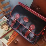 歐洲古董包-BOSS黑色x紅方型復古書包公事包