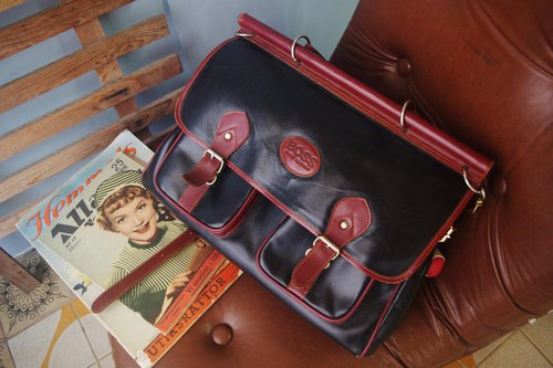European antique bag-BOSS black x red square retro bag briefcase