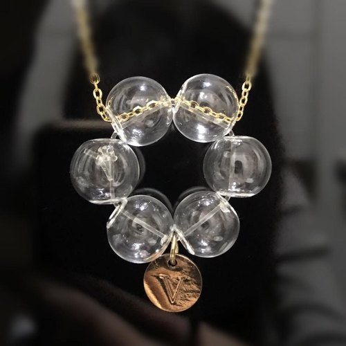 Life buoy Glass Ball Flower Necklace Christmas Gift Personalized Initial English Letter