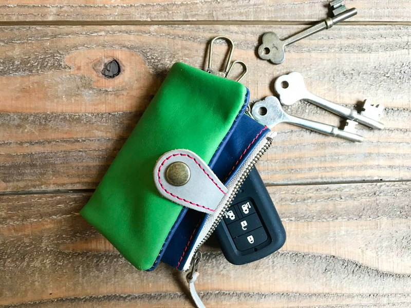 POCKET Casual and easy-to-use green × 紺 Pocket plump key case Smart key OK PPK-GNH-R