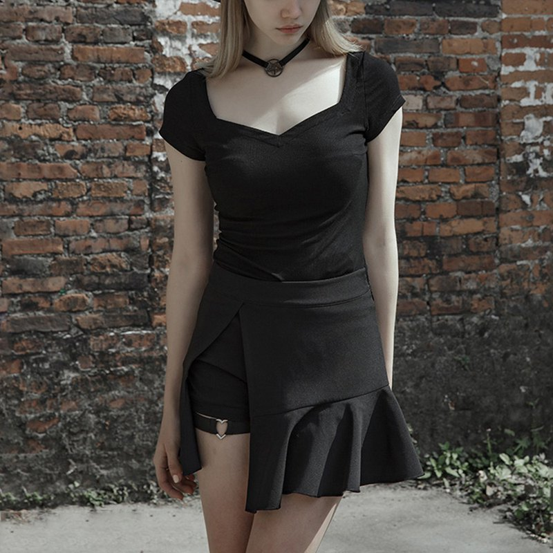 Punk fake two-piece fishtail skirt