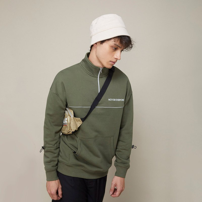 Unisex Half-Zip Stand-up Collar Sweatshirt / Army Green