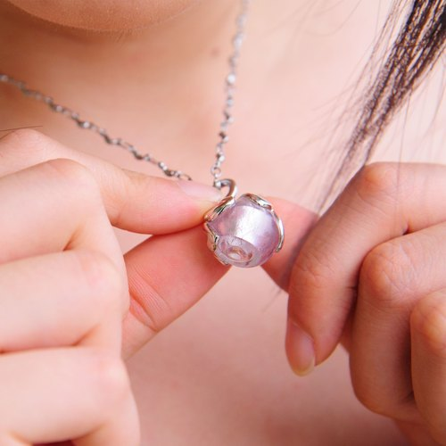 Diffuser Donut Necklace Pink Color 316 Stainless Chain with Oil Dropper