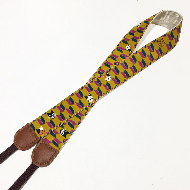 Cat Arrow Feather Camera Strap - Mustard Yellow