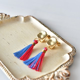 tassel earrings / hibiscus