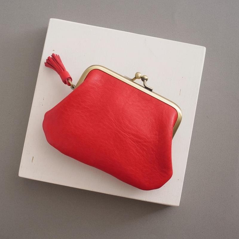 RENEE small tassel double mouth money bag / wallet / mouth gold bag / vegetable tanned leather / vegetable tanned leather warm red