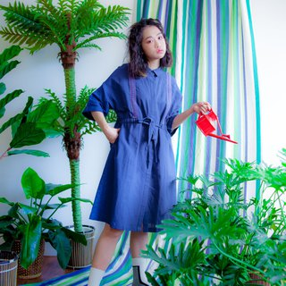 Blue cotton and linen ribbon coat