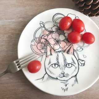 Handmake Ceramic plate with cat patten