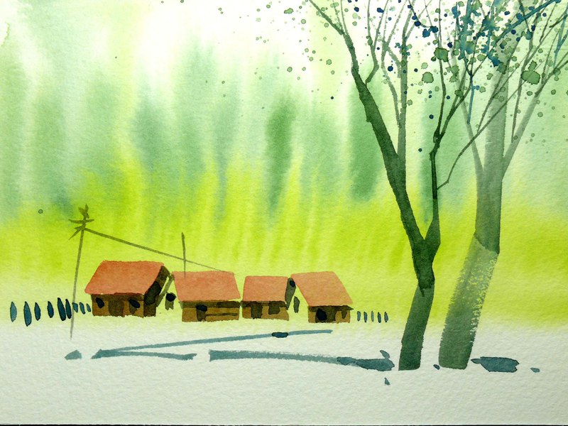 Wenqing Department of Woods Series 568 - Watercolor Hand Drawn Limited Edition Postcard / Christmas Card