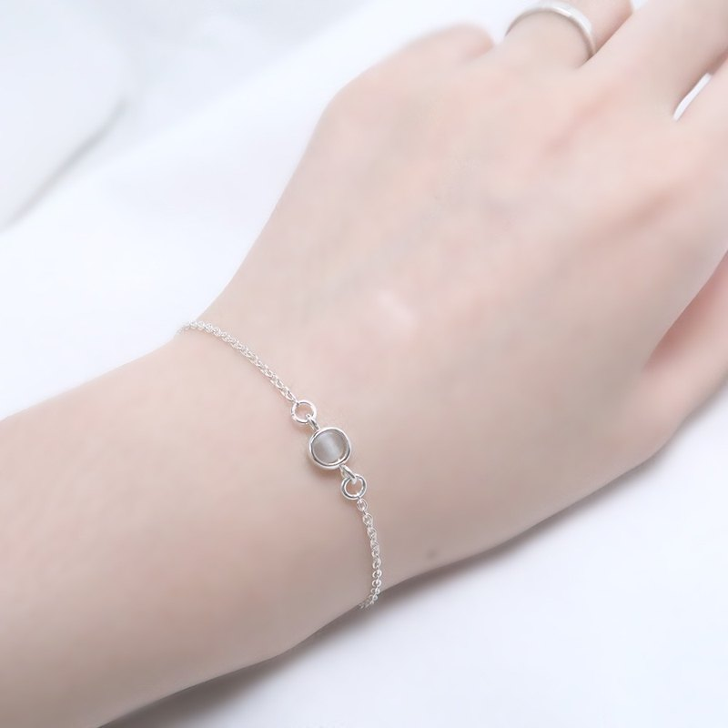 White Crystal Heart Bracelet (Small) - 925 Sterling Silver Natural Stone Bracelet