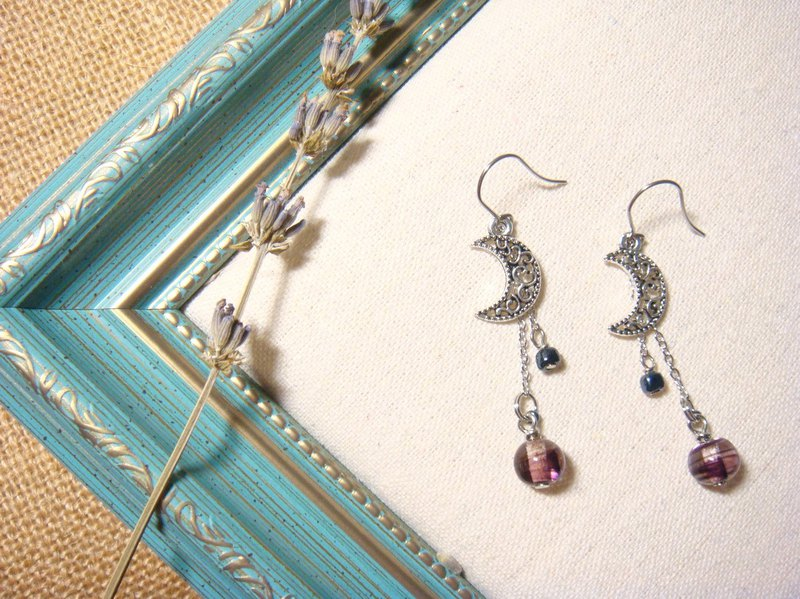 Grapefruit handmade glass - Earrings - Moon bend - Night color (can be clip-free increase clip type)