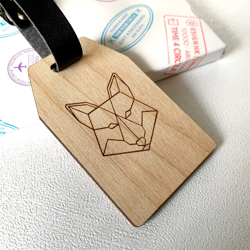 """Wolf"" Luggage Tag, Personalized Wooden Luggage Tag"