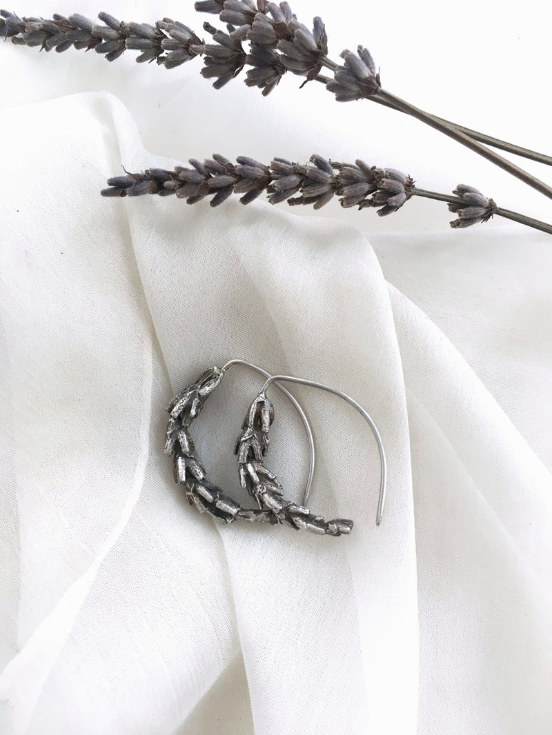 Plant illustration sterling silver lavender earrings