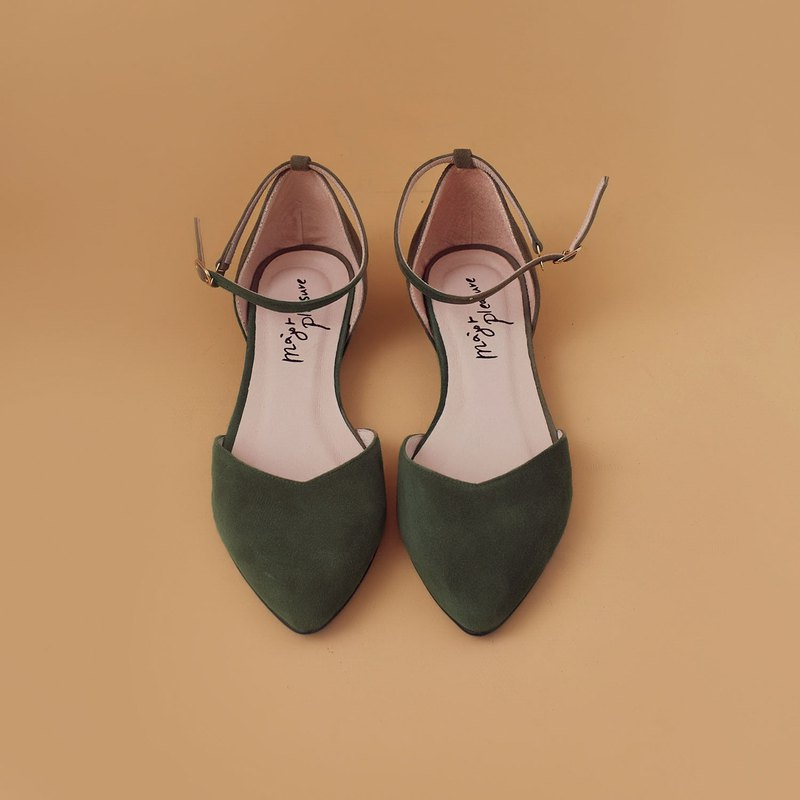 Elegant everyday shoes! inverted V-shaped slim feet with olive green full leather