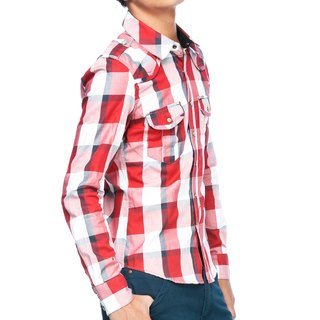 50 combed cotton red and white long-sleeved shirt pyramid Rivet