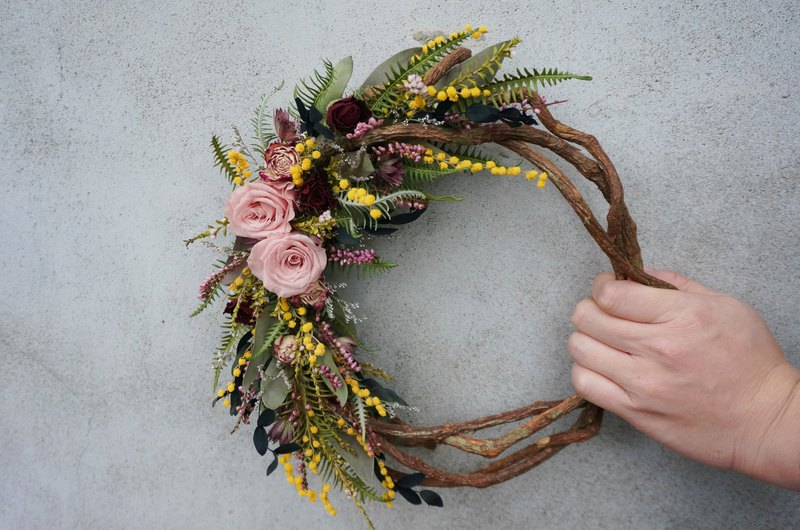 【Workshops】Floral Course Acacia Half Moon Wreath Dry Flowers Without Flower Wreath