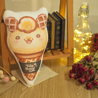 QQ double-sided pillow - cone rabbit - vanilla