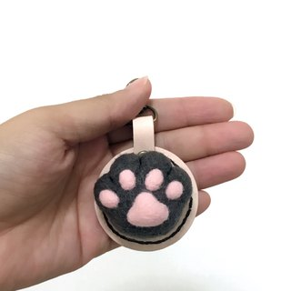 Fist Cat Meat Ball - Dark Gray Cat Palm - Leather Wool Felt Key Ring Replica - Free Lettering